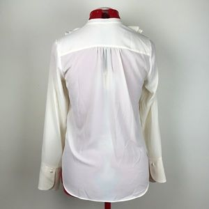 H&M Tops - H&M Cream Retro Ruffle Blouse w Tie